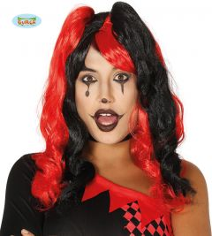 Pruik Harlequin Rood Zwart
