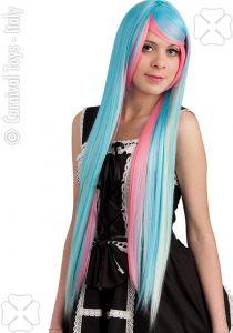 Cosplay Pruik Extra Lang Blauw - Roze