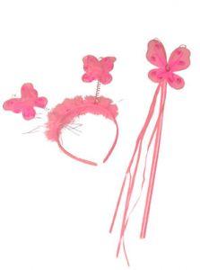 Diadeem En Stafje Vlinders Roze