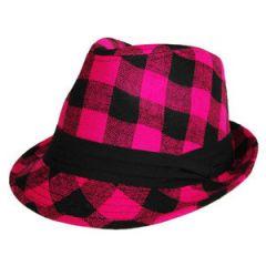 Geruite Funk Hoed Roze-zwart