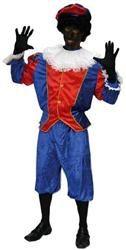 Kostuum Zwarte Piet Blauw- Rood Huren