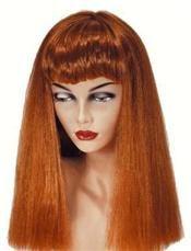 Pruik Dame Met Ros Stijl Haar