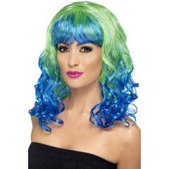 Pruik Divatastic Groen Blue