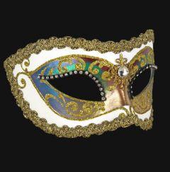 Venetiaans Masker Colombina Arco Strass White