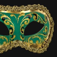 Venetiaans Masker Colombina Decor Era Gold Green