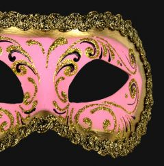 Venetiaans Masker Colombina Decor Era Gold Pink
