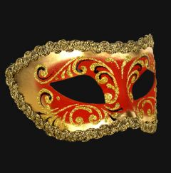 Venetiaans Masker Colombina Decor Era Gold Red