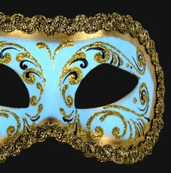 Venetiaans Masker Colombina Decor Era Gold Skyblue