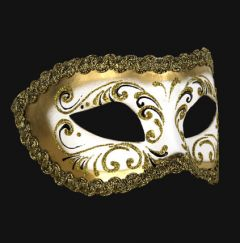 Venetiaans Masker Colombina Decor Era Gold White