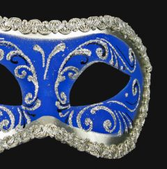 Venetiaans Masker Colombina Decor Era Silver Blue