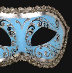 Venetiaans Masker Colombina Decor Era Silver Skyblue