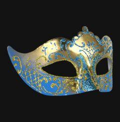 Venetiaans Masker Colombina Stella Gold Skyblue