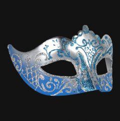 Venetiaans Masker Colombina Stella Silver Skyblue