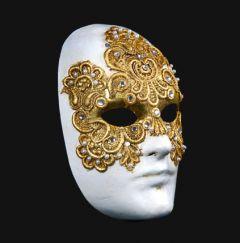 Venetiaans Masker Volto Macramè Maschile Gold